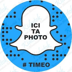 Disque en azyme personnalisable Snapchat bleu avec photo perso