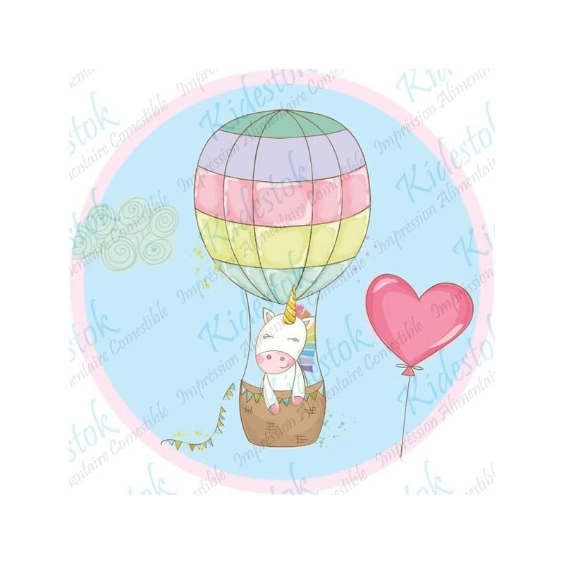 Disque Licorne montgolfière personnalisable